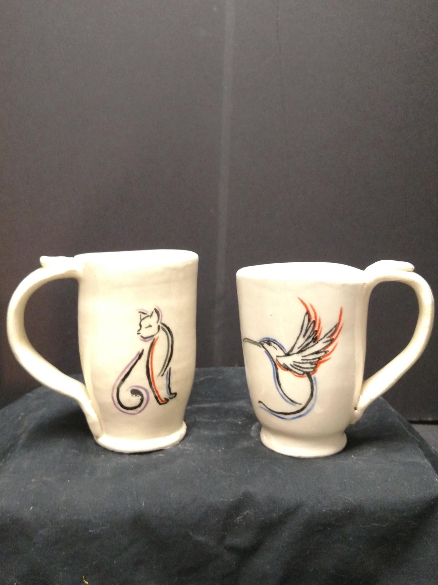 Stoneware Mugs - Cat and Bird
