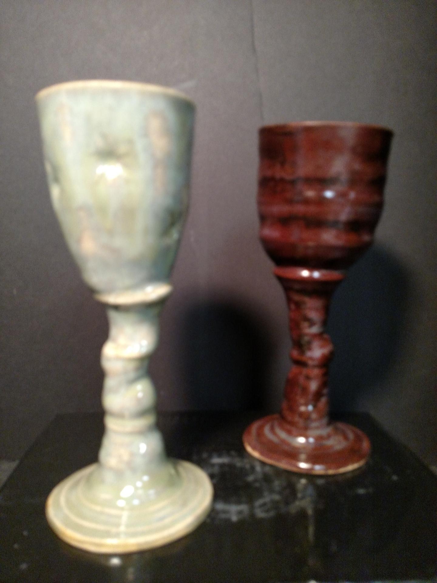 Stoneware wine goblets