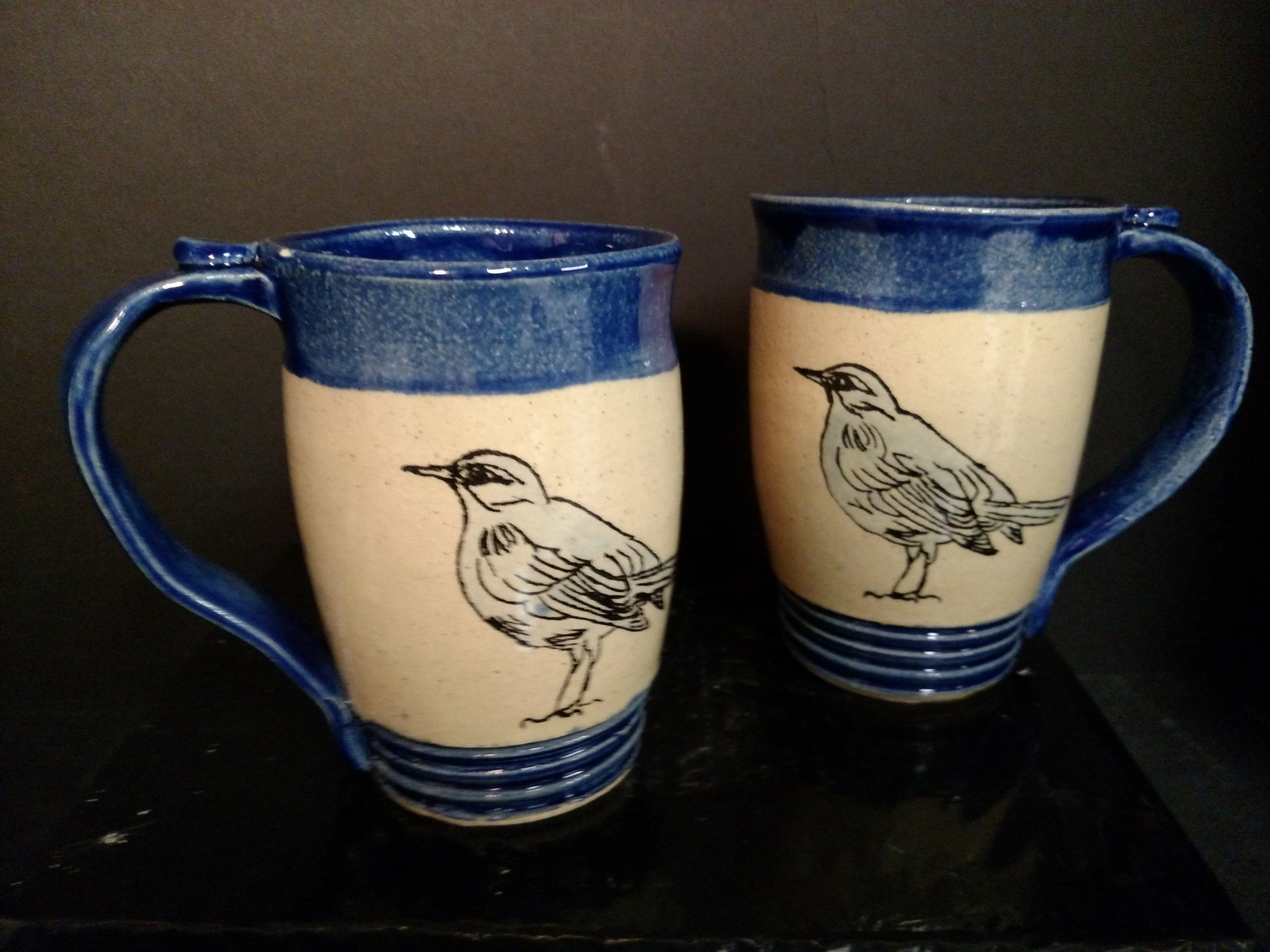 Stoneware mugs - hand drawn birds