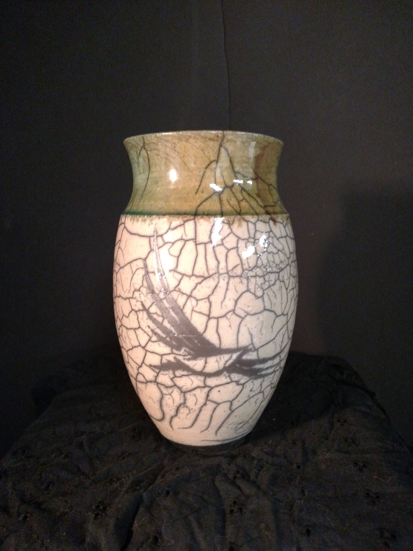 Raku Pot with Bird image