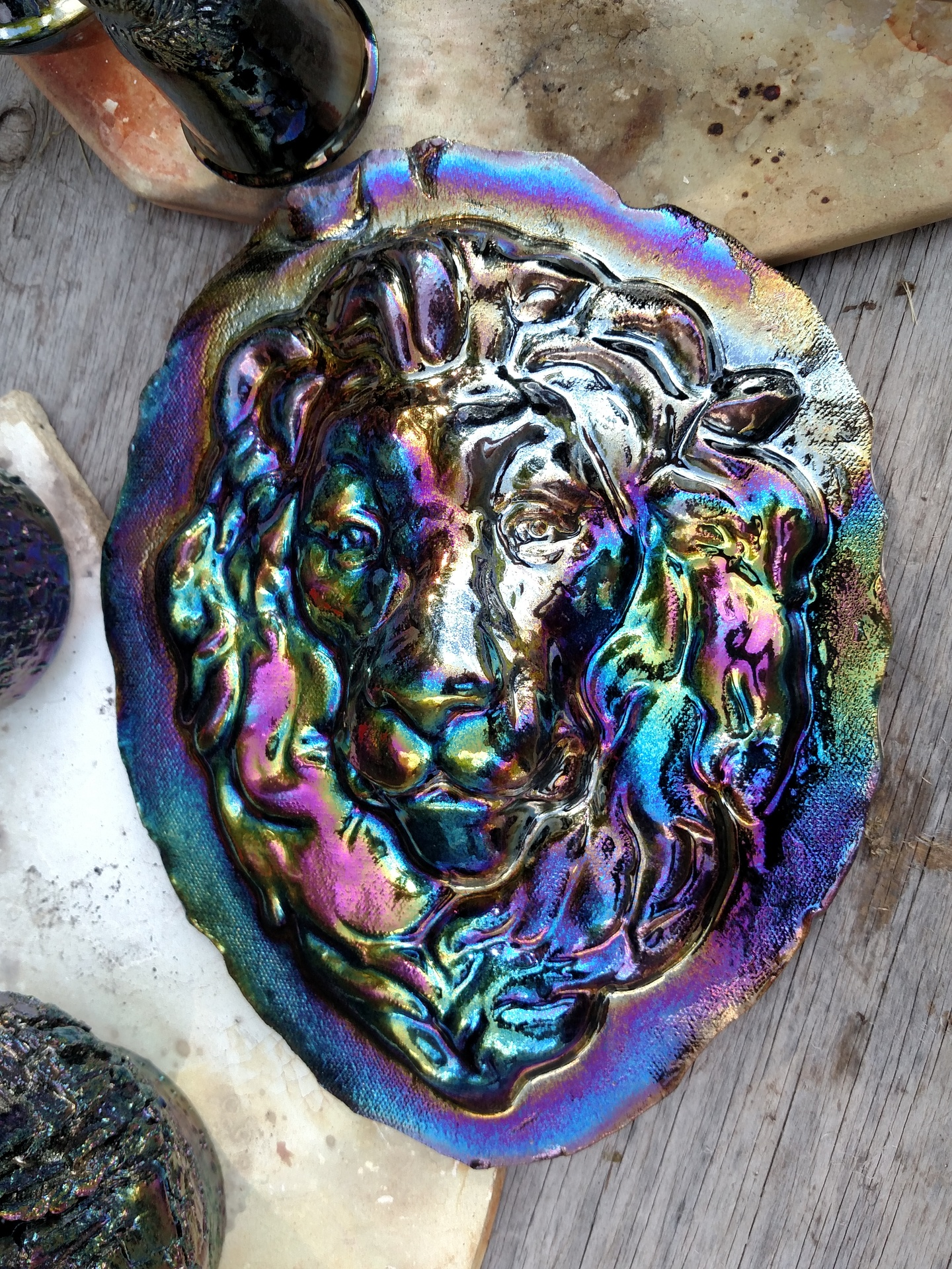 Fumed Lion head wall hanging