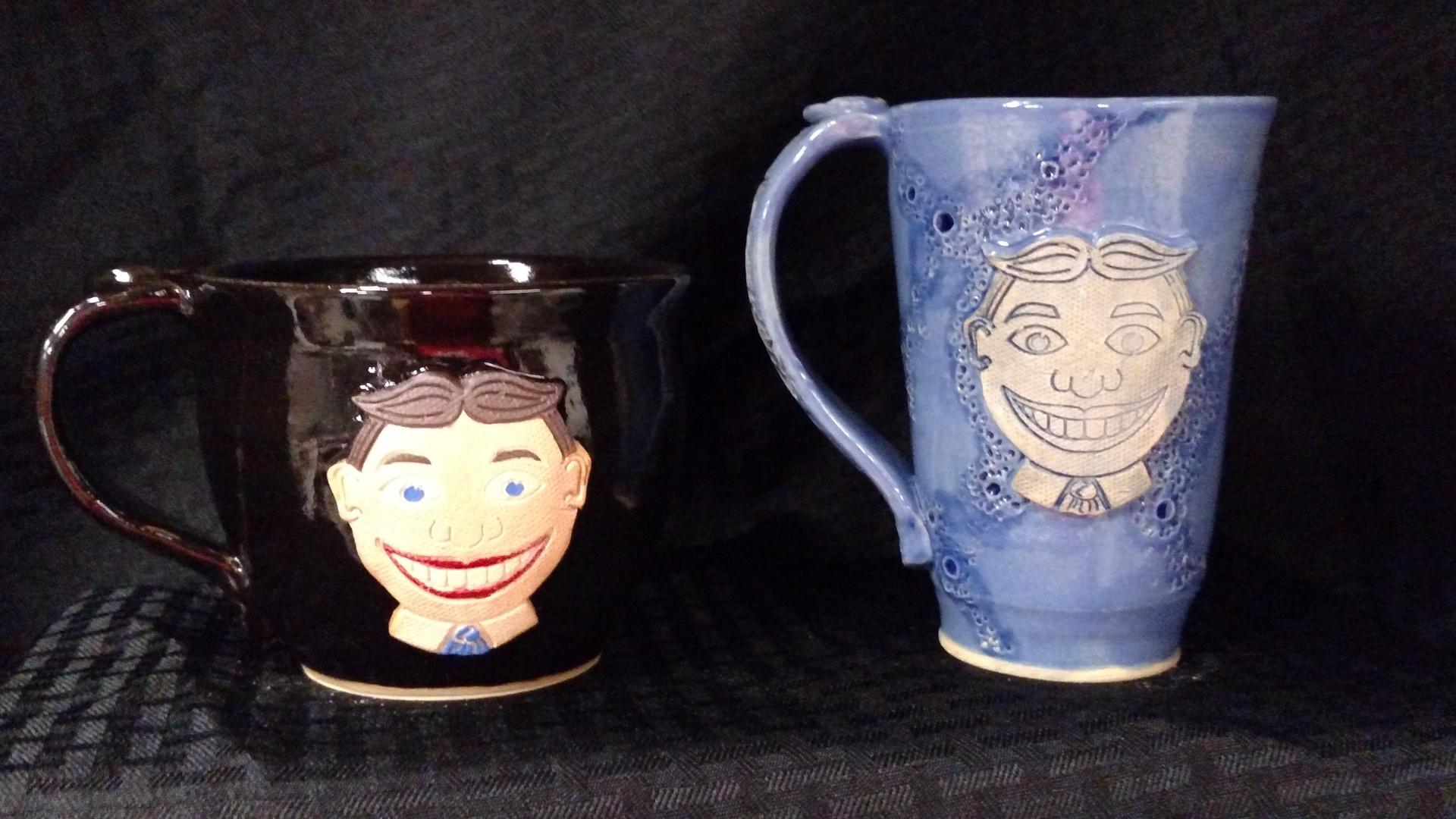 Tillie soup/capuccino mug and tillie monoprint mug