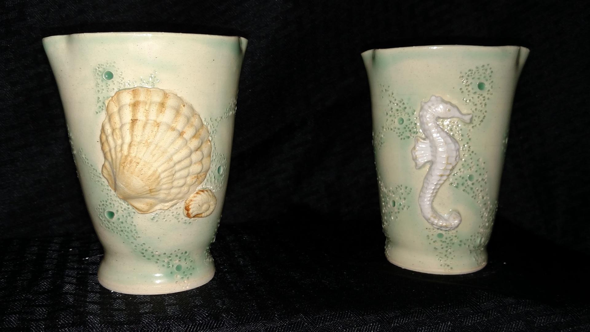Vases - seashell and seahorse