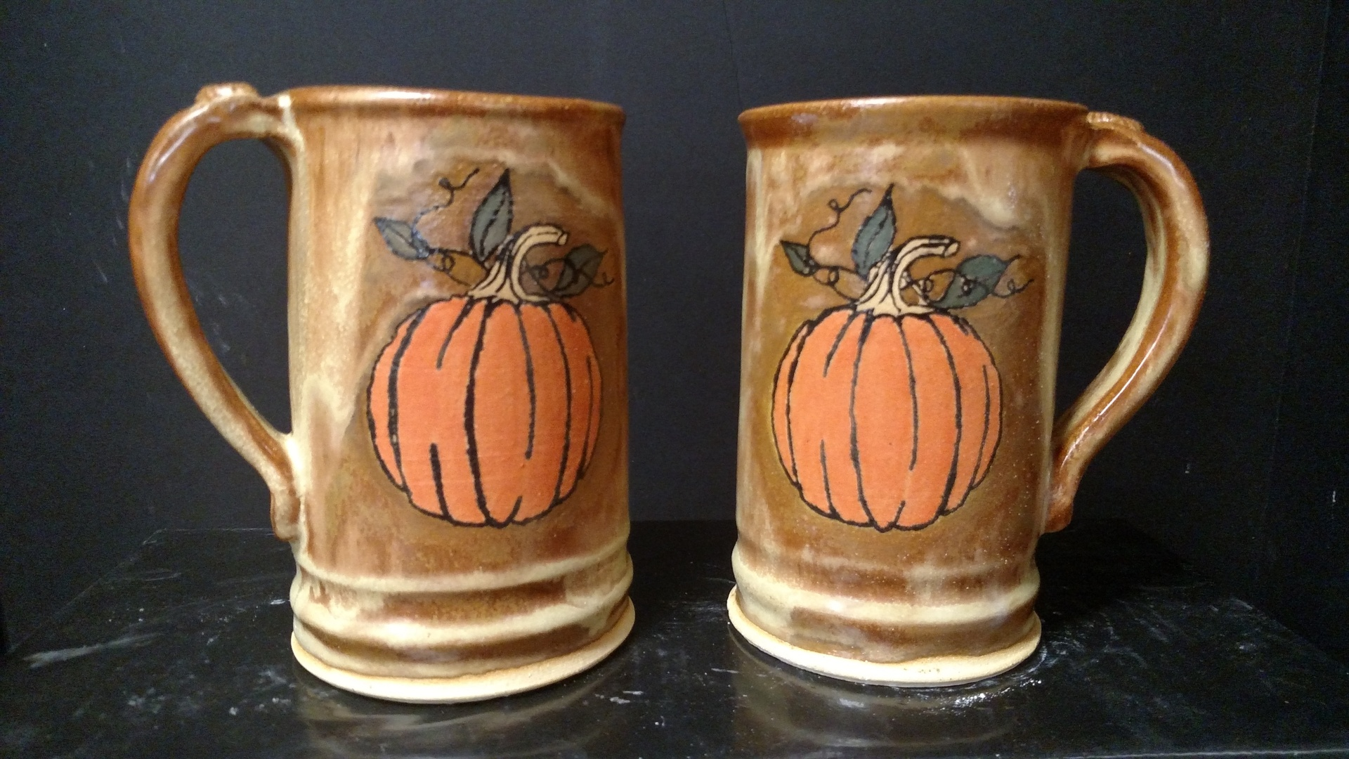 Stoneware mugs/beer stein - Hand drawn pumpkins